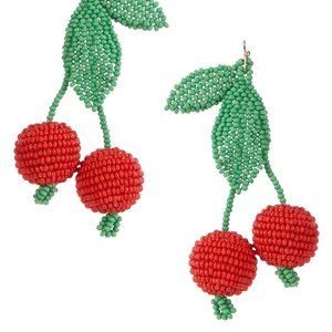 Anna & Ava Beaded Cherry Statement Earrings.NWT!